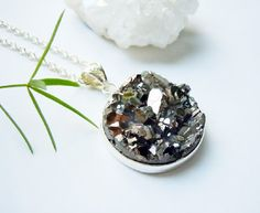 Silver Druzy Necklace  Raw Crystal  Boho  Gift by NaturalGlam, $45.00