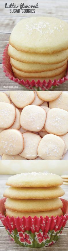 A recipe for Butter Flavored Sugar Cookies. We just made these and they are SO GOOD!