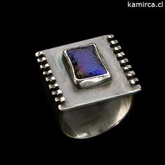 - Anillo plata 950 + cristal dicroico - Stone Jewelry, Jewelry Rings, Jewelery, Jewelry Accessories, Jewelry Design, Gold Jewellery, Handmade Rings, Wire Rings, One Ring