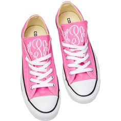 Personalized Converse Shoes ($85) ❤ liked on Polyvore featuring shoes, converse shoes, converse footwear and monogrammed shoes