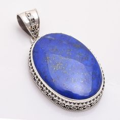 Natural Handmade Blue Lapis Lazuli Gemstone 925 Sterling Silver Pendant Jewelry #Handmade #Pendant