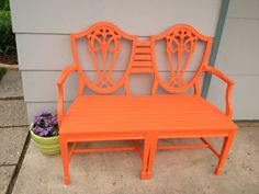 Bench made from two dining room chairs:))