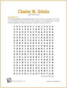 Charles M. Schulz | Word Search Worksheet - MakingArtFun.com
