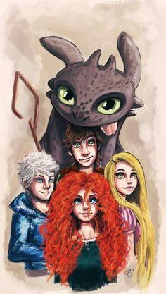 Merida, Jack frost , Hiccup , Rapunzel y Quimuelo