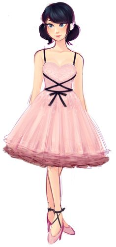 "gorovaia: "" a formal dress marinette sketch from a paolo sebastian collection """
