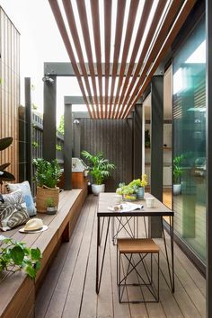 narrow courtyard, dining area in renovation with timber decking and shade. Narrow Backyard Ideas, Narrow Garden, Small Backyard Gardens, Outdoor Rooms, Outdoor Living, Outdoor Furniture Sets, Outdoor Decor, Outdoor Ideas, House Outside Design