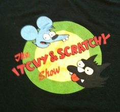 "The Simpsons ""Itchy And Scratchy Show"" Black Cotton T Shirt 20th Century Fox http://www.ebay.com/sch/miss.muckduck/m.html?_nkw=&_armrs=1&_from=&_ipg=&_trksid=p3686"
