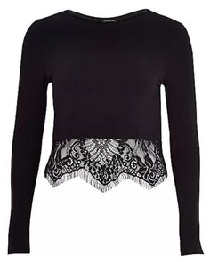 River Island Women's Black Long-Sleeve Lace Hem T-Shirt