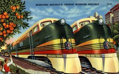 """The """"Orange Blossom Special"""" was a deluxe passenger train on the Seaboard Air Line Railroad and connecting railroads between New York City and Miami in the United States. It ran during the winter season only.  It covered 1,372 miles on the Pennsylvania Railroad"""