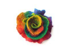 Felted flower brooch felt flower brooch by MarlenaRakoczy on Etsy