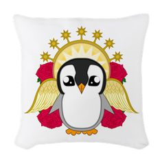 Angelguin Woven Throw Pillow #Penguin #Christmas #Xmas #Festive #Kawaii #Angel #Cute #Halo #Winter #Gift #Present #ChristmasPresents #Merry Christmas #Roses #CafePress