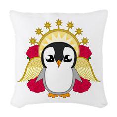 Angelguin Woven Throw Pillow #Penguin #Christmas #Xmas #Festive #Kawaii #Angel #Cute #Halo #Winter #Gift #Present #ChristmasPresents #Merry Christmas #Roses #CafePress