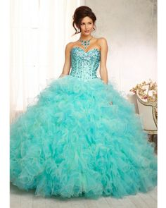 Quinceanera Dress #88098 Beaded Bodice on a Two Tone Ruffled Tulle Ballgown Skirt. Matching Bolero Included. Colors Available: Mint/Freeze, Cerise/Scarlet.