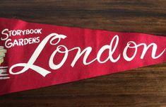 Vintage Pennant Vintage London Storybook Gardens Souvenir | Etsy