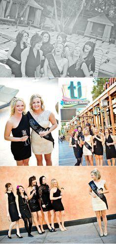 Las Vegas Bachelorette.  Bride in white, girls in black