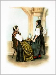 Traditional Switzerland national costumes. Swiss folk dresses. Clothing from the Canton of Basel.