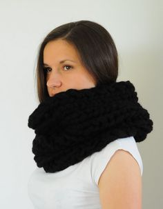 Extra Chunky Knitted Cowl Black Cowl Chunky Scarf by SOVAknits