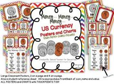 US Money Classroom Visuals with Points to Touch   Two different set of classroom visuals and charts for young mathematicians.   $