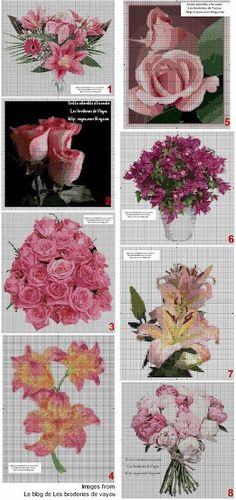 Graba bounty of free floral cross-stitch patterns from Le blog de Les broderies de vayou. Here are a few: (1) Bouquet de fleurs (2) Bouton de roses (3) Bouquet de Roses (4) Fleurs de Lys (5) Bouto…