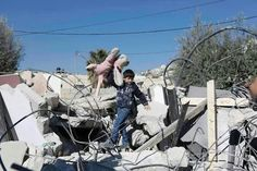 Palestinian boy finds his toys in the rubble that once was his family home. Israeli forces bulldozed it to make room for illegal settlement houses. Apartheid, Palestine, Knot, Blood, Houses, Toys, Homes, Activity Toys, Knots