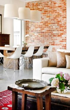 70 Ideas For Living Room Red Wall Ideas Exposed Brick Living Room Yellow And Brown, Brown Couch Living Room, Living Room Paint, Living Room Interior, Home Living Room, Living Area, Brick Feature Wall, Feature Walls, Brown Couch Decor