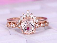 Round Morganite Engagement Ring  Sets Moissanite Tiara Ring 14k Rose Gold 6.5mm - 4.75 / 14K Yellow Gold