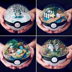 Any Pokemon fan would be thrilled to receive these Pokeball terrariums as a gift! Each of these terrariums feature one of your favorite Pokemon surrounded by its preferred environment, giving you a peek inside of what really goes on in a Pokeball. Pokemon Decor, Pokemon Room, Pokemon Craft, Pokemon Gifts, Pokemon Party, Pokemon Birthday, Cool Pokemon, Pokemon Fan, Nintendo Pokemon