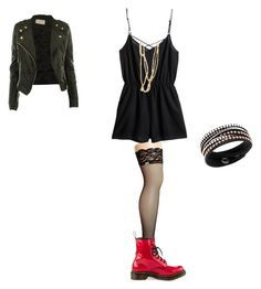 """""""inspired with a romper"""" by effy-stonem-style ❤ liked on Polyvore featuring Betsey Johnson, H&M, Olia, Swarovski and Dr. Martens"""