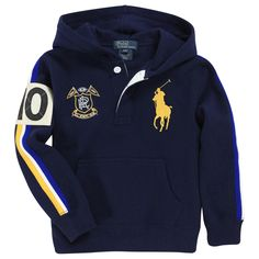 Navy blue fleece sweatshirt with a lined hood. Large front pockets. Yellow and white bands along the sleeves. Embroidered badge and Big Pony logo on the chest. - 80,00 €