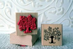Little Swirly tree rubber stamp from oldislandstamps. $8.75, via Etsy.