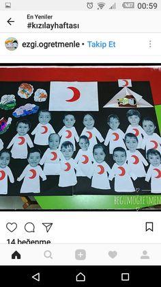 Kızılay haftası Class Decoration, Montessori, Diy And Crafts, Preschool, Playing Cards, 1, Student, Education, Sailing