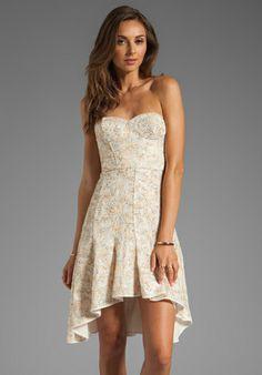 BCBGMAXAZRIA Strapless Dress in White Combo
