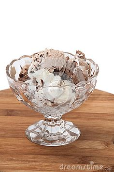 Chocolate ice cream balls served in a crystal bowl.