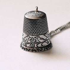 Antique Love Bird Thimble Peter Pan Kisses Necklace With Acorn Solid Sterling Silver by HooliganAlley on Etsy