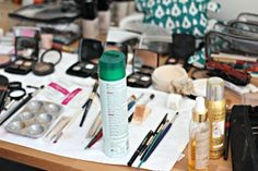 The makeup table at our December holiday shoot with Kortnie Coles! http://adore.me/PinterestAdoreMe