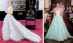 Get the Look: Oscars 2013 | If you liked Amy Adams' sky blue Oscar de la Renta gown, try this similar style in robin's egg blue by Romona Keveza.