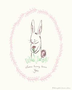 "FREE printable spring bunny print |  ""Some Bunny Loves You"""