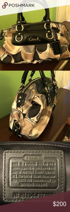 "NWOT Authentic Coach handbag Tan/gray/white satin with black patent leather accents. One zippered interior pocket, and one interior slot pocket. Detachable 14"" strap and 2 structured handled. In perfect condition. Coach Bags Satchels"