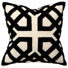 Black applique linen pillow