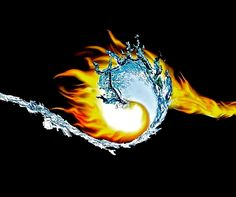 Yin-Yang; a Fire & Water composition where the two elements are illustrated beyond the typical shape/lines yet the taijitu is successfully implied.