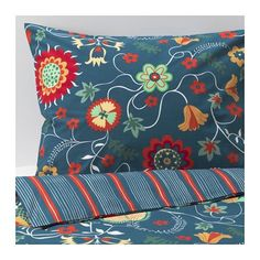 IKEA ROSENRIPS Quilt cover and 4 pillowcases Blue patterned 200x200/50x80 cm Feels crisp and cool against your skin as it's made of cotton percale,...