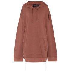 Fenty by Rihanna Oversized Cotton-Jersey Hoodie (2.840.820 IDR) ❤ liked on Polyvore featuring tops, hoodies, dresses, long sleeves, sweaters, brown, oversized hoodie, hooded sweatshirt, brown long sleeve top and puma top