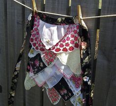 Apron Womens Hostess Gift Tea Party Vintage Hankies One of a Kind Design Gourmet Cottage Chic
