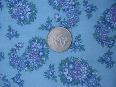 Vintage 1960s Purple Blue Green Calico Tiny Roses in by tessimal, $6.50