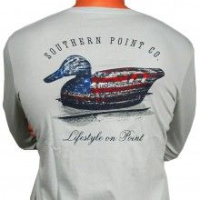SPC Signature Long Sleeve Flag Decoy Tee in Grey by Southern Point Co. $35