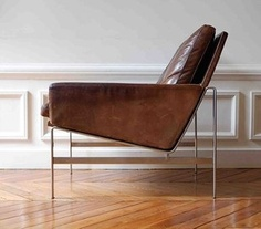 Leather Arm Chair Fabricius Kastholm Pouf Furniture Design Modern