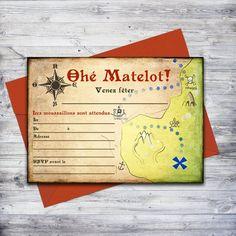 """""""Ohé Matelot"""" invitation de pirate imprimable!  Parfait pour une fête à la plage ou à la piscine. Vous n'avez qu'à télécharger, imprimer, et écrire vos détails. #birthdayparty #invitation"""
