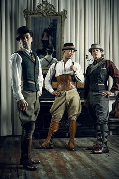 """thelingerieaddict: """" Why Do Men Wear Corsets? Credits: Trio of men's corsets by Dark Garden Costume Steampunk, Steampunk Men, Steampunk Design, Steampunk Clothing, Steampunk Fashion, Victorian Fashion, Victorian Men, Steampunk Pirate, Edwardian Era"""