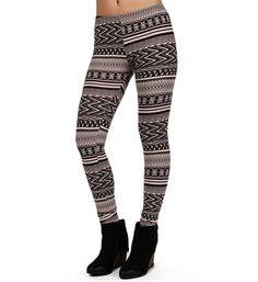 Black/Dark Taupe Tribal Print Leggings