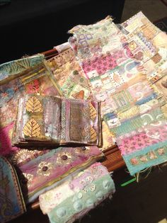 Photo of Beryl Taylor's work taken at a mixed media and wood blocking workshop